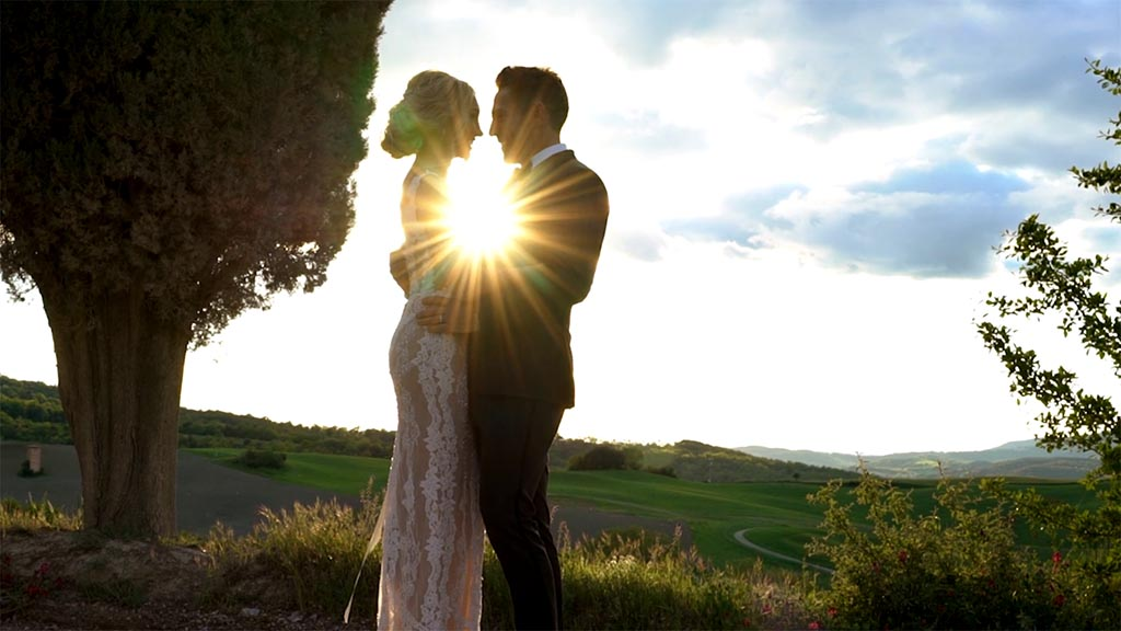 What about a vow renewal in Tuscany Italy? The bride and groom and the beautiful Tuscan sunset after the ceremony at Castello di Celsa.